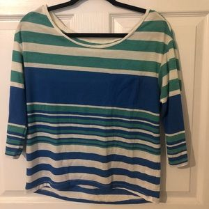 striped american eagle blue white and green shirt